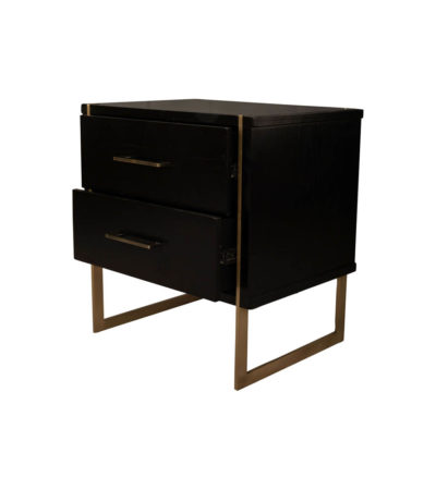 Hayman Wood Bedside Table with Brass Legs and Drawers