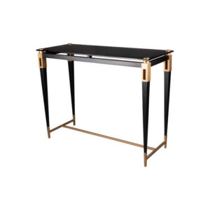 Ida Glass Console Table with Stainless Steel Legs Corner View