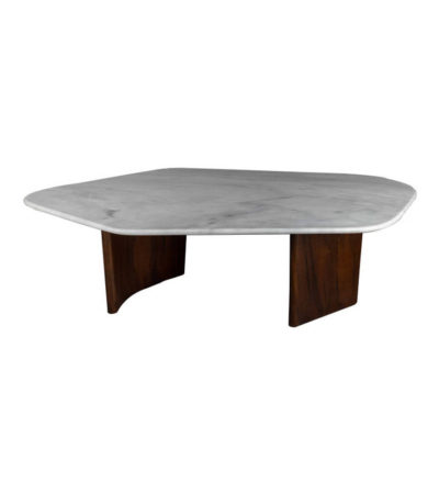Olney Wooden With Cream Marble Coffee Table front